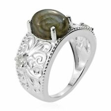 Natural Labradorite, Zircon Ring in Sterling Silver (Size 7.0) 3.15 ctw