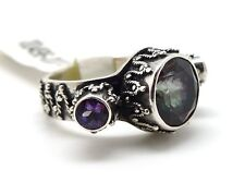 MICHOU Mystic Fire Topaz & African Amethyst Sterling Silver Ring Size 8