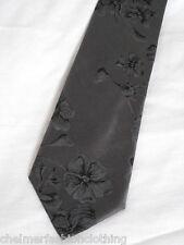 BRAND NEW  -  BLAZER  Floral Pattern Silk Tie  Grey