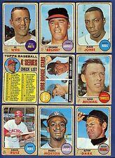 1968 Topps Baseball Starter Set 9 Different Cards (213-353) G-VG