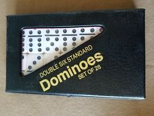 Standard Double Six White Dominoes in Black Case w/ Free Shipping