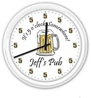 5 o'clock Somewhere Beer Mug PERSONALIZED Pub Bar man cave Wall Clock GREAT GIFT