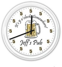 5 o'clock Somewhere Beer Mug PERSONALIZED Pub Bar man cave Wall Clock GREAT GIFT