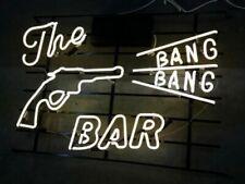 "New The Bang Bang Bar Gun Man Cave Neon Sign 20""x16"" Beer Lamp Light"