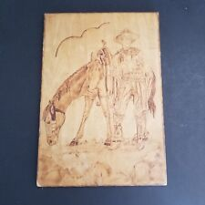Pyrography Vintage Lone Ranger 6 x 9 Wood Portrait Unfinished