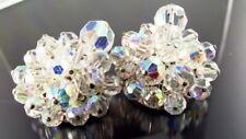 Vintage AB Crystal Earrings Cluster
