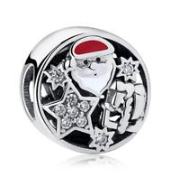 50 pcs Santa Claus European CZ Charm Crystal Spacer Beads Fit Necklace Bracelet