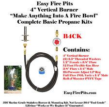 """B4CK: 4"""" VERTICAL BURNER COMPLETE PROPANE BASIC KIT 316 STAINLESS"""