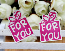 72 x GIFT FOR YOU stickers pink label seal favours Bonbonniere Xmas