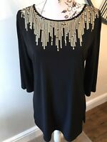 Lovely Gold Sequin Party Top By Nina Leonard Size Large (14/16)