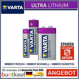 VARTA Ultra Lithium AA Mignon l AAA Micro l 9V Block l Rauchmelder Batterien