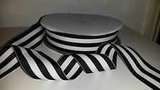 "1 yard 38mm (1.5"")  wide BLACK/WHITE WOVEN STRIPE DOUBLE SIDED RIBBON MILLINERY"