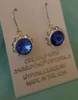 HYPOALLERGENIC  Dangle Earrings  Swarovski Elements Crystal in Sapphire Color
