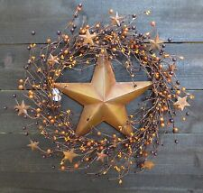 Primitive Wreath Rusty Star Orange & Deep Plum Pip Berry Berries Mini Stars Rust