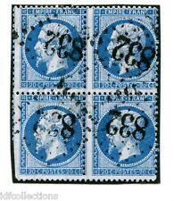 Classique France Napoléon N°22 oblitéré en bloc de 4 GC 832 Chaille les Marais