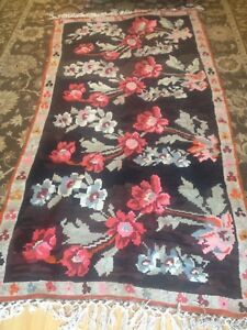 Hand Woven Wool Turkish Kilim Area Rug Black Red Roses 54' x 104'
