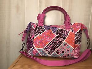 Vera Bradley Hadley Satchel Modern Medley Purse Handbag Bag Pink Blue