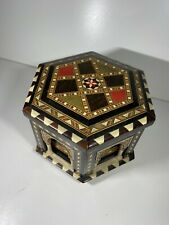 "Vintage Reuge Hexagonal Xxl Music Box Musical Jewellery Box Plays ""Torero"" Song"