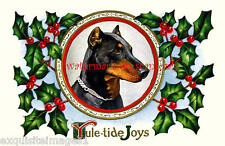 Christmas Antique Art~Bold Doberman Pinscher~ Holly~New Large Note Cards