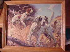 2 pointing hunting dogs framed ready to hang on the wall