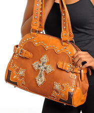 Womens Fashion Hobo HANDBAG Brown With Cross Emblem Faux Leather UNBRANDED