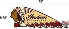 "(IND-2-L) 18"" LEFT INDIAN MOTORCYCLE WAR BONNET STICKER DECAL"