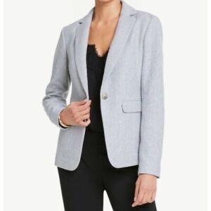 Ann Taylor Factory 100% Cotton Light Grey Career Blazer Women's Plus Size 16