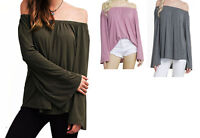 Womens Olive Green Gray Pink Off Shoulder Peasant Long Bell Sleeve Shirt Top