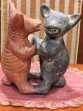 Antique Mexican Precolumbian? Mayan? Black Red Pottery Statue Figurine 2 Puppy'S