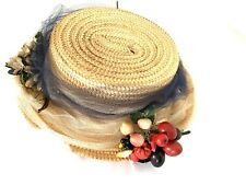 Vintage Straw Hat Theme Multicolor Flowers And Dry Fruits Italy Size 21� Brim 2�