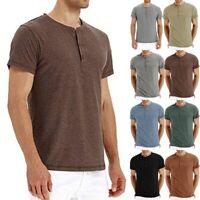 Men Fashion Button Neck Slim T-shirt Stretch Short Sleeve Cotton Top Tee New