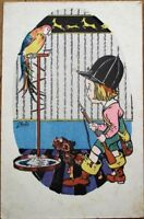 Young Hunter & Dog Approach Parrot 1920s Artist-Signed, Art Deco Postcard