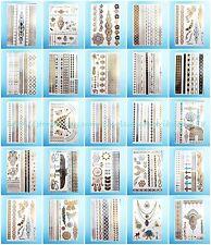 24 sheets/lot flash tattoo metallic gold silver parties skin decor