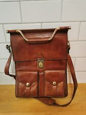 Vintage Brown Leather Unusual Bag With Gold Hardware.