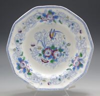 LIVESLEY AND POWELL HENLEY PARADISE POLYCHROME OCTAGON PLATE c.1860 BLUE RED
