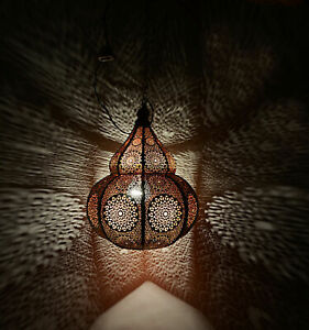 Indian Pendant Lighting Hanging Ceiling Metal Decor Moroccan Lamp (Red) 14 x 10""
