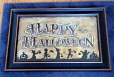 HALLOWEEN Painting HAPPY TRICK OR TREATERS Framed Art Work Under Glass
