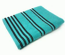4 X STRIPED BRIGHT 100% COMBED COTTON ABSORBANT TURQUOISE BLUE BATH SHEET TOWEL