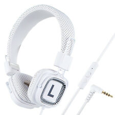 Kanen DJ Headphones with Mic Foldable Adjustable for Computer MP3/4 Tablet White