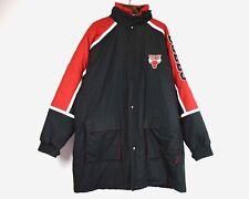 CHICAGO BULLS Starter Men's 2XL 90s Puffer Jacket Parka NBA Hooded Coat Red vtg