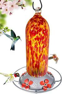 Grateful Gnome - Hummingbird Feeder - Hand Blown Glass - Fiery Bell Tower - 20oz