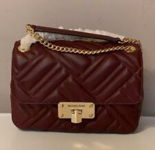 Michael Kors Bag /Bag Peyton Medium Shoulder Merlot Flap Quilted Leather BNWT