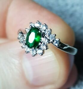 Womans Size T 1/2. Green Oval Emerald & White Topaz Silver Ring