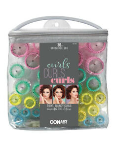 Conair 36 Piece Brush Rollers for Tight & Bouncy Curls - 4 Sizes - Brand New!