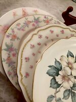 Vintage Set of 4 Mismatched China Luncheon Plates Wedding Mad Hatter Pinks   183