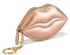 NWT Victoria's Secret Metallic Gold Lip Coin Purse Card Case Key Chain