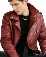 Noora New Men Genuine Maroon Motorcycle Bikers Quilted Lambskin Leather Jacket