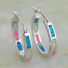 925 Silver Filled Colorful Fire Opal Dangle Hoop Earring Ear Jewelry Women Party