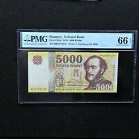 2016 Hungary 5000 Forint, Pick # 205a, PMG 66 EPQ  Gem Unc.