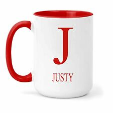 Justy Name & Initial Mug - Gift in Many Colours For Tea or Coffee